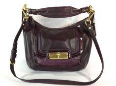 Coach 18287 Kristen Purse Plum Leather Convertible Spectator Shoulder Hobo Bag  #Coach #MessengerCrossBody