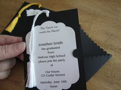 Graduation Invitation - Pullout Tag with Tassel, School Colors