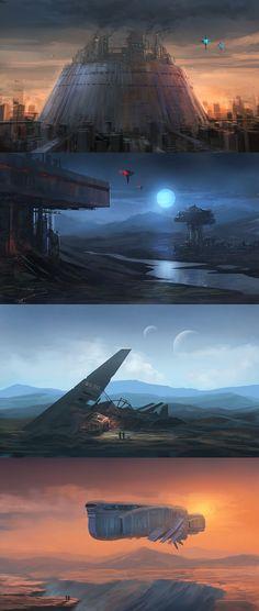 quick sci fi paintings by alex-ichim on DeviantArt