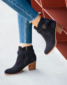 Blue suede ankle bootie with buckle detail | Sole Society Paislee