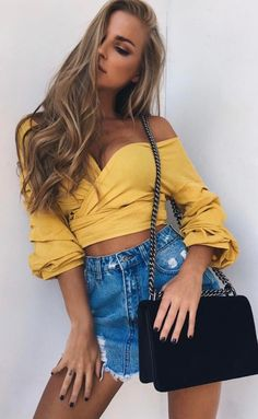 #spring #outfits Yellow Grace Blouse + Ripped Denim McQueen Mini Skirt ❤