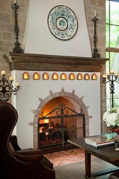 Interesting detail around fireplace opening. New Construction - mediterranean - family room - dallas - Gage Homes Inc. Stucco Fireplace, Home Fireplace, Fireplace Design, Fireplaces, Mediterranean Fireplace Mantels, Fireplace Screens, Spanish Colonial Homes, Spanish Style Homes, Spanish House