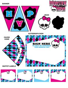 Monster High Party Printables Set Cupcake Wrappers Monster High Party Decorations on Etsy, $25.00