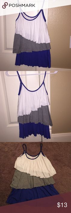 Blue/white/black tank top!!! This tank top has been worn TWICE. In excellent condition and it's soooo cute on!!! You can dress it up or down. I love this top but does not fit me anymore! Tops Tank Tops