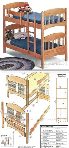 Colonial Bunk Bed Plans - Children's Furniture Plans and Projects | WoodArchivist.com