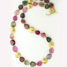 """Barbara Heinrich Necklace Watermelon tourmaline necklace with round 18k gold hammered spacers and a wavy toggle clasp. 17.5"""" long."""