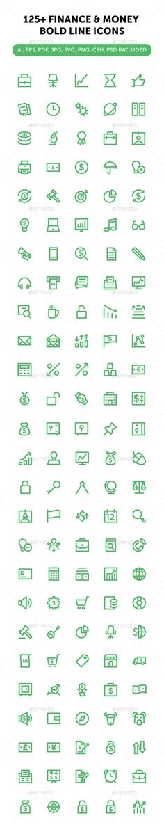 125+ Finance and Money Bold Line Icons #design Download: http://graphicriver.net/item/125-finance-and-money-bold-line-icons/12516050?ref=ksioks