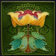 Art Nouveau Majolica Tile 1908