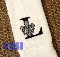 Fleur de Lis Monogram Hand Towel by KeepsakesByHeather on Etsy