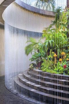 : ^..^ This waterfall fountain creates a wall of water that is just so amazing. . . . . Diy Garden Fountains, Indoor Water Fountains, Outdoor Fountains, Garden Ponds, Koi Ponds, Indoor Fountain, Garden Water, Wall Of Water, Water Walls