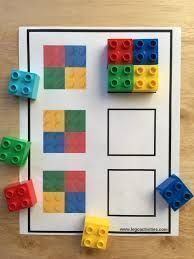 Use Legos or other small colored blocks to make visual distinctions. Children's gymnastics - wood workin diy - Use Legos or other small colored blocks to make visual distinctions. Children's gymnastics - diy for beginners plans tips tools Toddler Learning Activities, Montessori Activities, Preschool Learning, Infant Activities, Visual Motor Activities, Emotions Activities, Preschool Curriculum, Maria Montessori, Montessori Materials