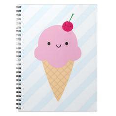 Kawaii Ice Cream Cone Notebooks