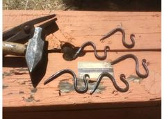 Hanging Hooks (Hand Forged Iron / Bee's Wax Finish)