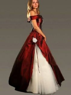 black red and white wedding gowns