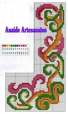 Anaide Ponto Cruz: Primeira parte de gráficos de barrados de canto em ponto cruz !!!!