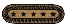 """Display this sweet Farmhouse Star Stencil Braided Runner 8x24"""" on your dining table or a buffet to create a cozy country look to your home. https://www.primitivestarquiltshop.com/products/farmhouse-star-stencil-braided-runner-8x24 #primitivekitchensanddiningrooms"""