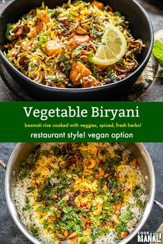 Indian Vegetarian Recipes 511862313900865475 - Aromatic and flavorful restaurant style Vegetable Biryani! This fragrant biryani is packed with veggies, spices, herbs and nuts and is an explosion of flavors in every bite! Source by Ciloprano Veggie Dishes, Veggie Recipes, Indian Food Recipes, Asian Recipes, Whole Food Recipes, Dinner Recipes, Cooking Recipes, Healthy Recipes, Indian Snacks