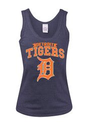Detroit Tigers Womens Navy Tigers Foil Tank Top
