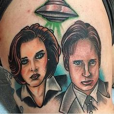 Update on this one on @jabasile 👽 Nice to see the finished product! 🙌 #thexfilestattoos #iwanttobelieve #xfiles #mulder #scully