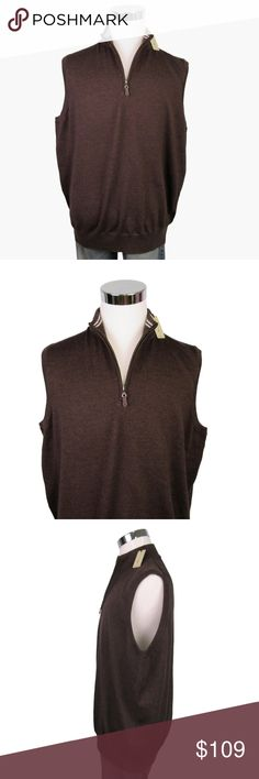 NEW Peter Millar XXL 2XL Merino Wool Sweater Vest Men's 1/4 Zip Sweater Vest Golf or Casual Attire  Brand: Peter Millar   Condition: NEW with Tags $168 Retail  Material: Merino Wool  Color: Brown   Sleeve Length: Sleeveless  Size: XXL 2XL  Measurements:  Chest/Bust (Pit to Pit) - 26 inches  Length (Top Shoulder to Bottom of Shirt) - 28 inches Peter Millar Jackets & Coats Vests