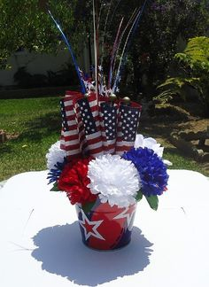 Basket Silk Arrangement Flowers Floral Memorial Day Flag Day 4Th Of July American Holiday Decor