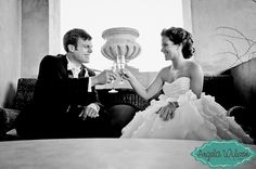 #Bride and #Groom #Toasting by Angela Wilson #Photography