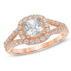 6.0mm Cushion-Cut Lab-Created White Sapphire Frame Ring in Sterling Silver with 14K Rose Gold Plate - Size 7