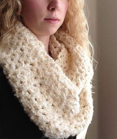Chunky Soft Infinity Scarf - Hand Crocheted - Cream Color