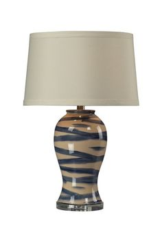 Blue and Off-White Handpainted and Glazed Ceramic Table Lamp with Crystal Base by HGTV Lighting on @HauteLook