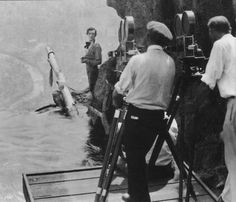 "Behind the scenes photos from Buster Keaton's ""Our Hospitality"". The waterfall and mountain backdrop were constructed over the swimming pool at the studio. As usual, Keaton performed the dangerous. Golden Age Of Hollywood, Old Hollywood, Little Busters, Donald O'connor, Flapper Era, Maureen O'hara, Scene Photo, Silent Film, Classic Films"