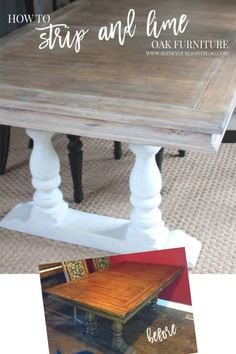 How to strip and lime an oak table to give it a richly worn patina. Refinish Dining Tables, Painted Dining Room Table, Refinished Table, Dining Table Makeover, Antique Dining Tables, Diy Dining Table, Stenciled Dining Table, Farmhouse Dining Tables, Painted Oak Table
