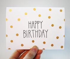 Gold Polka Dot Birthday Card with Handlettering - Happy Birthday Card