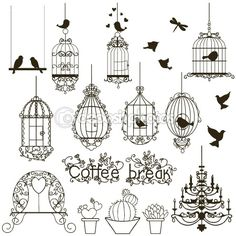 Vintage birds and birdcages collection. Clipart… Vintage Birds And Birdcages Collection. Clipart… Royalty Free Cliparts, Vectors, And Stock Illustration. Bird Drawings, Doodle Drawings, Vintage Birds, Vintage Art, Clipart Vintage, Bird Clipart, Vintage Drawing, Doodle Art, Bird Doodle