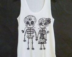 Cute clothes Skull tank top size S M L Mexican skull art/ lover print/ white sleeveless top/ singlet/ women t shirt/ teen girls clothing