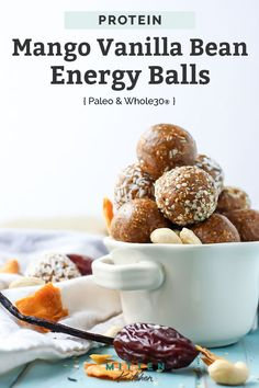 These Mango Vanilla Bean Protein Energy Balls make the best snack. No added sugars, four ingredients, paleo, and vegan-friendly. Paleo Recipes, Real Food Recipes, Snack Recipes, Dessert Recipes, Paleo Dessert, Kitchen Recipes, Free Recipes, Bar Recipes, Desserts