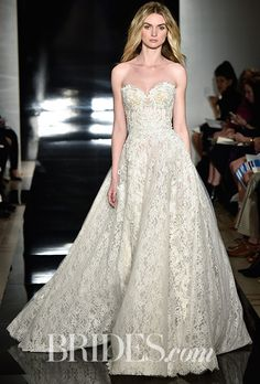 Brides.com: . Embroidered strapless Chantilly lace wedding dress, Reem Acra