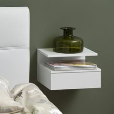 Hangend nachtkastje 'Cecilie' met lade, kleur wit