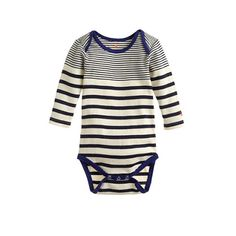 Baby one-piece in multi-stripe. minimalist style if not prices: JCrew launches baby gift sets. I have a weakness for stripes and quality baby basics (no decals please), so I'll endorse. enjoy!