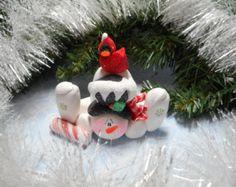 Bonhomme de neige pâte lunatique par ClayPeeps sur Etsy