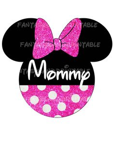 Sparkle Minnie Mouse Glitter Classic Pink Bow for DIY Printable Iron Transfer family  Disney trip Applique Vacation Shirt