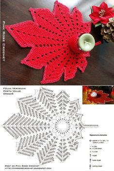 Pink lace doily, Decorative crochet tablecloth with heart pattern, Perfect gift for mom and wife with pink crochet, Valentines day decor Crochet Leaf Patterns, Crochet Symbols, Crochet Leaves, Crochet Motifs, Christmas Crochet Patterns, Crochet Diagram, Doily Patterns, Crochet Chart, Thread Crochet