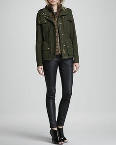 3-in-1 Puffer Vest Jacket & Skinny Leather Leggings by Burberry Brit at Neiman Marcus.