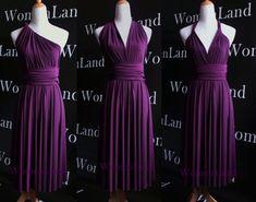 Dark Purple Knee Length Infinity Dress Convertible Dress Woman Dress Evening Wedding Bridesmaid Dress Tailor Made Plus Size Women Dresses