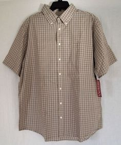 New Men's Merona XL Brown Black White Striped Button Front Short Sleeve Shirt $10.99 with Free Shipping