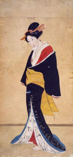 asian art + geisha images | geisha asian black blue drawing fantasy geisha lady