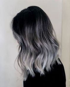Grey Hair Wig, Balayage Hair Grey, Grey Blonde Hair, Black And Grey Hair, Ash Grey Hair, Blonde Brunette, Hair Color Ideas For Black Hair, Light Blonde, White Hair