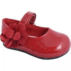 Baby Deer Red Crinkle Patent Walking Stage Skimmer with Flower Strap Ornament and Hook and Loop Strap Closure