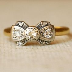 1920s antique platinum, diamond, and 18k gold ring