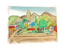 Vintage unframed watercolor of El Progreso Guatemala by wonderdiva