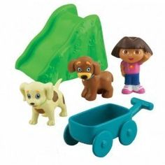"Dora Puppy - Outdoor Puppy Adventure by Fisher-Price. $32.95. Mini Set Includes (5) Play Pieces: Dora Figure / Perrito Figure / Puppy Pal Figure / Wagon Figure / Slide Figure. Dora Figure Meaurses Approx. 2"" Tall. Dora Puppy - Outdoor Puppy Adventure. Ages 3+. Young fans of the popular preschool character Dora the Explorer will love the Dora Loves Puppy toys. This new line of Dora toys has been designed to accompany a storyline on the Nick Jr. TV show ""Dora the Explorer"" in w..."